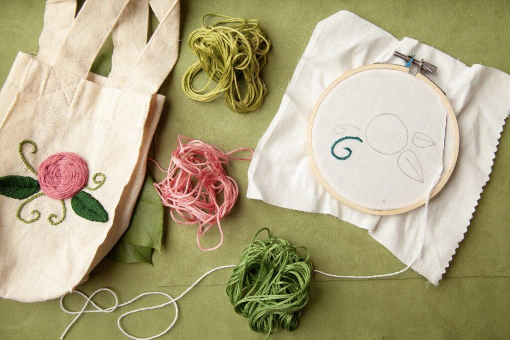 DIY Rose Embroidered Bag