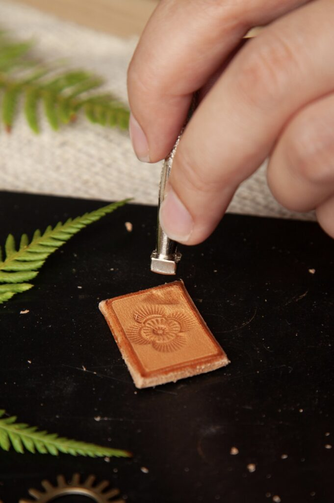 Stamped Leather Pendant Step 12A