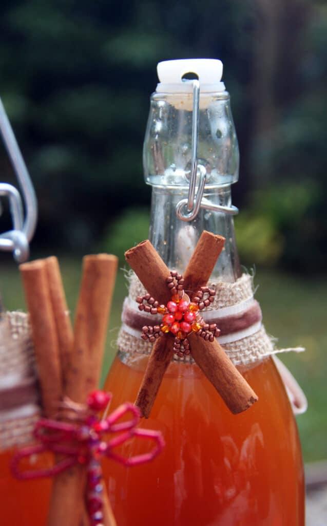 kombucha bottles & decorated ribbon