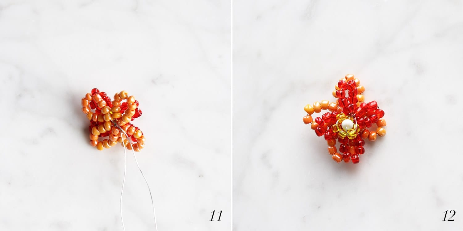 Orange, red, yellow and white beads being used to create a rounded beaded flower